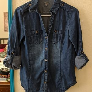Small Charolette Russe Jean button down top